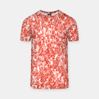 Thumbnail image of Living coral dark glitter sparkles T-shirt, Live Heroes
