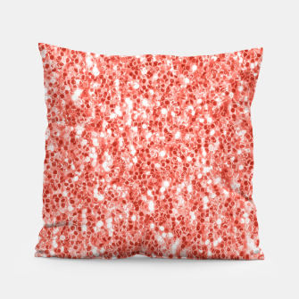 Thumbnail image of Living coral dark glitter sparkles Pillow, Live Heroes