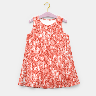 Thumbnail image of Living coral dark glitter sparkles Girl's summer dress, Live Heroes