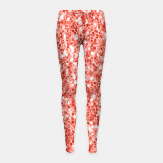 Thumbnail image of Living coral dark glitter sparkles Girl's leggings, Live Heroes