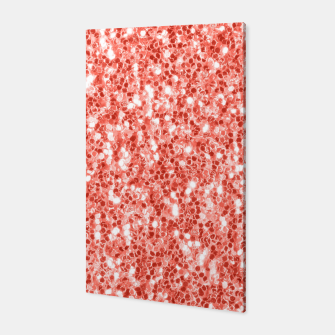 Thumbnail image of Living coral dark glitter sparkles Canvas, Live Heroes