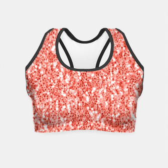 Thumbnail image of Living coral dark glitter sparkles Crop Top, Live Heroes