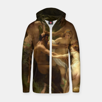Miniaturka Nymphs and Satyr by William-Adolphe Bouguereau Zip up hoodie, Live Heroes