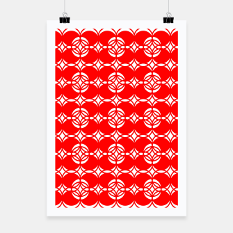 Miniaturka Abstract  pattern - red and white. Poster, Live Heroes