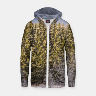 Miniatur Sunny winter forest Zip up hoodie, Live Heroes