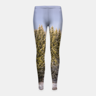 Miniatur Sunny winter forest Girl's leggings, Live Heroes
