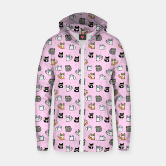 Miniature de image de House Cats - Cartoon Pattern Pink Zip up hoodie, Live Heroes