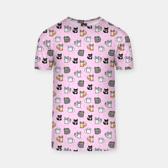 Thumbnail image of House Cats - Cartoon Pattern Pink T-shirt, Live Heroes