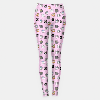 Miniaturka House Cats - Cartoon Pattern Pink Leggings, Live Heroes