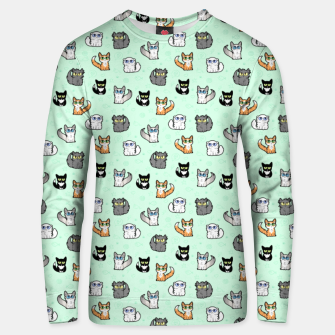 Thumbnail image of House Cats - Cartoon Pattern Green Unisex sweater, Live Heroes