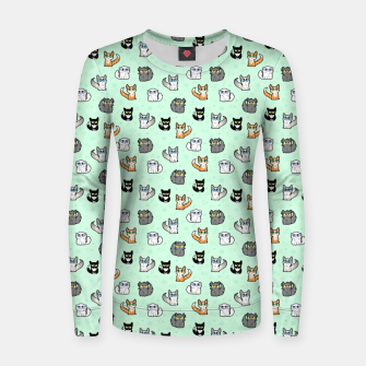Thumbnail image of House Cats - Cartoon Pattern Green Women sweater, Live Heroes
