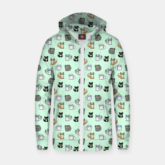 Imagen en miniatura de House Cats - Cartoon Pattern Green Zip up hoodie, Live Heroes