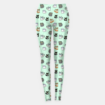 Miniaturka House Cats - Cartoon Pattern Green Leggings, Live Heroes