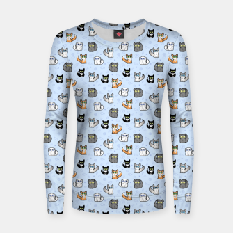 Thumbnail image of House Cats - Cartoon Pattern Blue Women sweater, Live Heroes