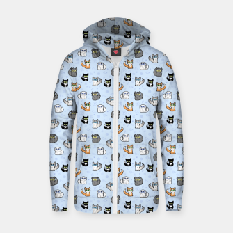 Imagen en miniatura de House Cats - Cartoon Pattern Blue Zip up hoodie, Live Heroes