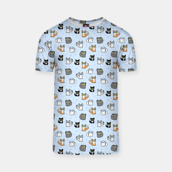 Thumbnail image of House Cats - Cartoon Pattern Blue T-shirt, Live Heroes