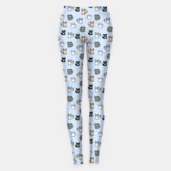 Miniaturka House Cats - Cartoon Pattern Blue Leggings, Live Heroes
