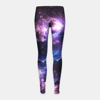 Imagen en miniatura de Grunged Space Abstract Fractal Art Design Girl's leggings, Live Heroes