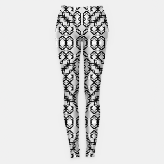 Thumbnail image of Black and White Modern Geometric Pattern Leggings, Live Heroes