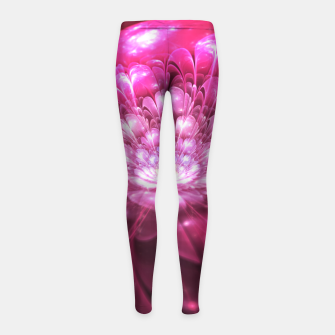 Imagen en miniatura de Magenta Bloom Abstract Fractal Art Design Girl's leggings, Live Heroes