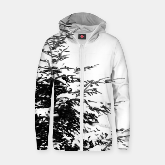 Miniatur Fir Tree Covered With Snow Zip up hoodie, Live Heroes