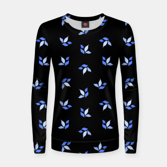 Thumbnail image of simple floral leaves seamless pattern 01 blue on black Women sweater, Live Heroes