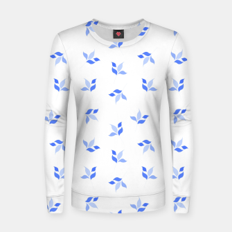 Thumbnail image of simple floral leaves seamless pattern 01 blue on white Women sweater, Live Heroes