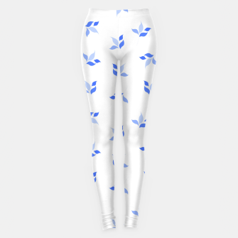 Thumbnail image of simple floral leaves seamless pattern 01 blue on white Leggings, Live Heroes