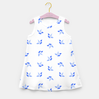 Thumbnail image of simple floral leaves seamless pattern 01 blue on white Girl's summer dress, Live Heroes