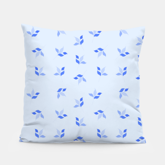Miniatur simple floral leaves seamless pattern 01 blue Pillow, Live Heroes