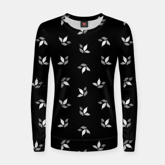 Thumbnail image of simple floral leaves seamless pattern 01 black white on black Women sweater, Live Heroes