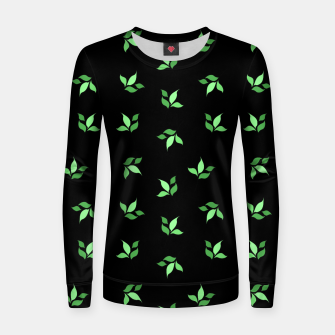 Thumbnail image of simple floral leaves seamless pattern 01 deep green on black Women sweater, Live Heroes