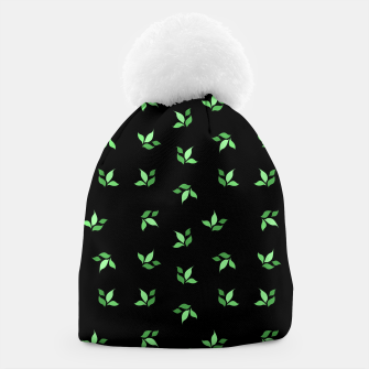 Thumbnail image of simple floral leaves seamless pattern 01 deep green on black Beanie, Live Heroes
