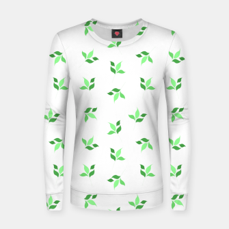 Thumbnail image of simple floral leaves seamless pattern 01 deep green on white Women sweater, Live Heroes