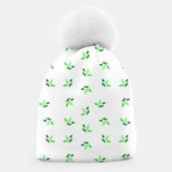 Thumbnail image of simple floral leaves seamless pattern 01 deep green on white Beanie, Live Heroes