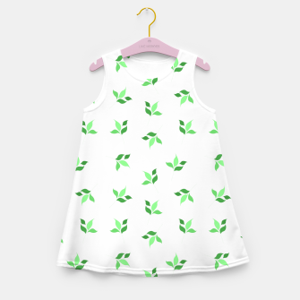 Thumbnail image of simple floral leaves seamless pattern 01 deep green on white Girl's summer dress, Live Heroes