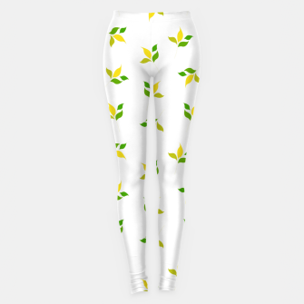 Thumbnail image of simple floral leaves seamless pattern 01 deep yellow on white Leggings, Live Heroes