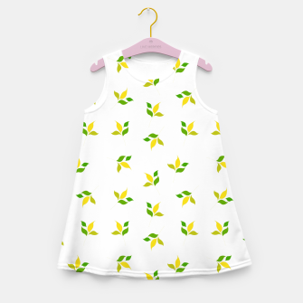 Thumbnail image of simple floral leaves seamless pattern 01 deep yellow on white Girl's summer dress, Live Heroes