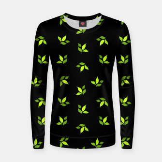 Thumbnail image of simple floral leaves seamless pattern 01 intensive green on black Women sweater, Live Heroes