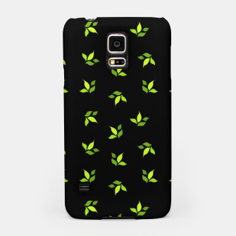 Thumbnail image of simple floral leaves seamless pattern 01 intensive green on black Samsung Case, Live Heroes