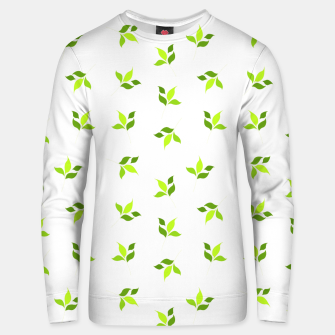 Thumbnail image of simple floral leaves seamless pattern 01 intensive green on white Unisex sweater, Live Heroes