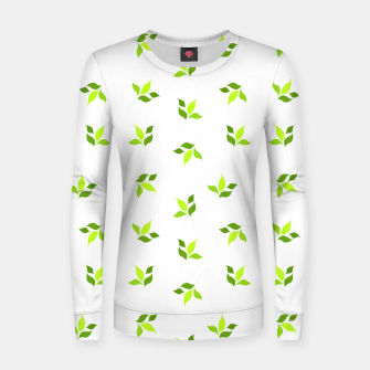 Thumbnail image of simple floral leaves seamless pattern 01 intensive green on white Women sweater, Live Heroes