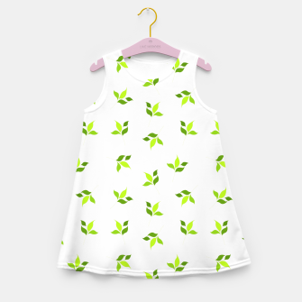 Thumbnail image of simple floral leaves seamless pattern 01 intensive green on white Girl's summer dress, Live Heroes