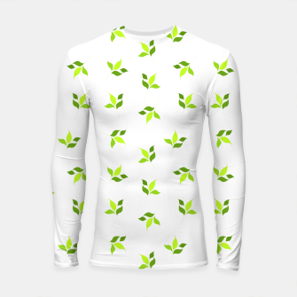 Thumbnail image of simple floral leaves seamless pattern 01 intensive green on white Longsleeve rashguard , Live Heroes