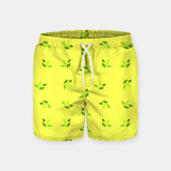 Thumbnail image of simple floral leaves seamless pattern 01 intensive green Swim Shorts, Live Heroes
