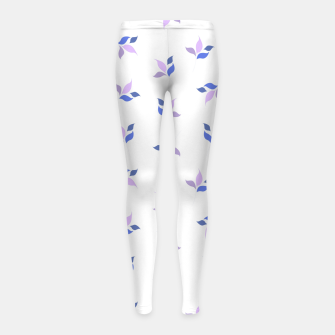 Thumbnail image of simple floral leaves seamless pattern 01 purple on white Girl's leggings, Live Heroes