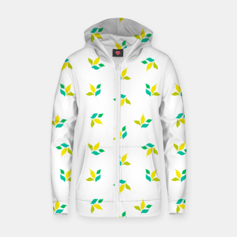 Thumbnail image of simple floral leaves seamless pattern 01 on white Zip up hoodie, Live Heroes