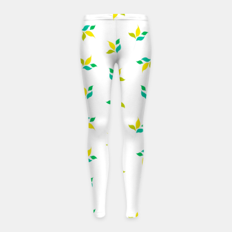 Thumbnail image of simple floral leaves seamless pattern 01 on white Girl's leggings, Live Heroes