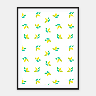 Thumbnail image of simple floral leaves seamless pattern 01 on white Framed poster, Live Heroes