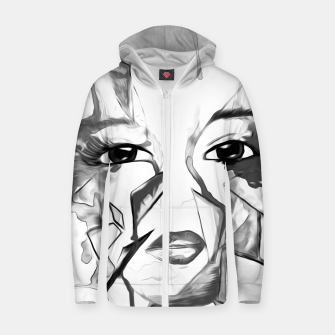 Thumbnail image of rainbow face oil reworked black white Zip up hoodie, Live Heroes